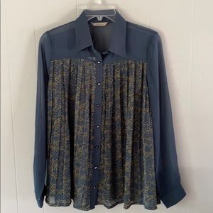 NWT DARLING sheer stars button down pleated top